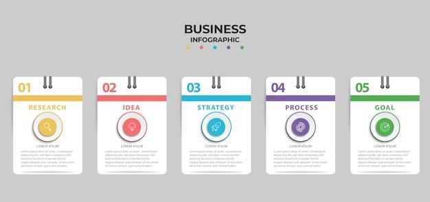 Grafico di informazioni elemento aziendale con 4 opzioni, passaggi, design del modello di numero