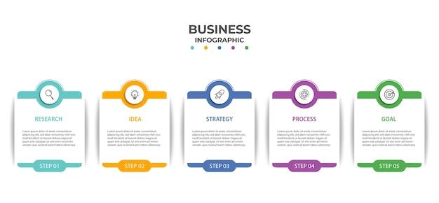Grafico di informazioni elemento aziendale con opzioni, passaggi, design del modello di numero