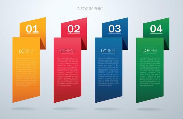 Modello di vettore grafico di informazioni con 4 opzioni