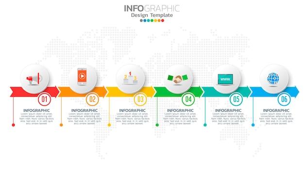 Elemento di colore infografico in 6 fasi con freccia, diagramma grafico, concetto di marketing aziendale