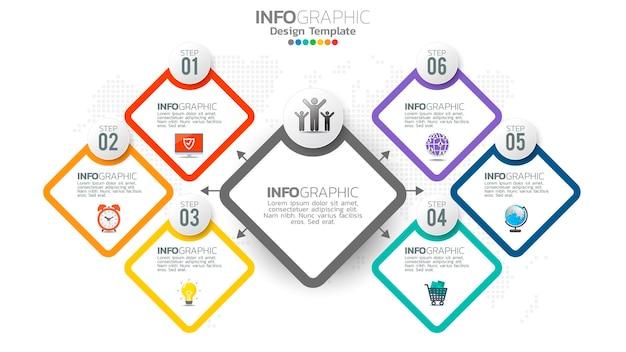 Elemento di colore di infograph 6 passaggi con diagramma grafico a cerchio, design grafico aziendale