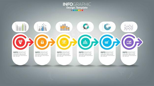 Elemento di colore del passaggio di infograph con freccia, diagramma grafico, concetto di marketing online aziendale.