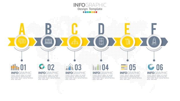 Elemento di colore giallo di infograph passo con diagramma grafico a cerchio, disegno grafico aziendale.