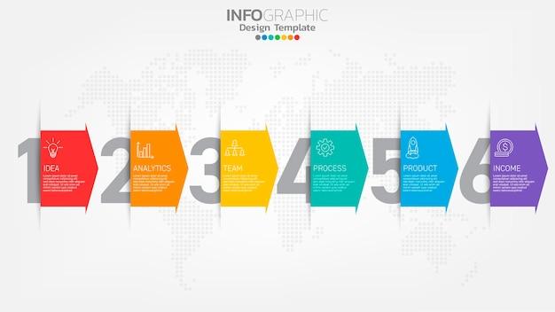 Infograph passaggi elemento colore con freccia, diagramma grafico, concetto di marketing online aziendale.
