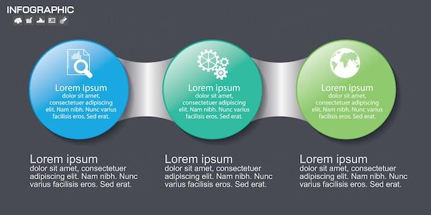 Modelli di timeline di 3 cerchi di infografica per le imprese