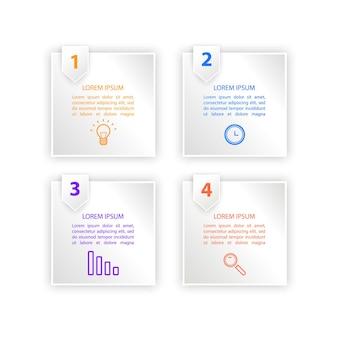 Progettazione del modello di etichetta infografica 3d concetto di business infografica con opzioni numero 4