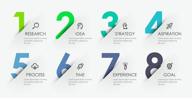 Design a freccia infografica con 8 opzioni o passaggi. infografica per il concetto di business.