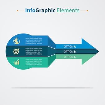 Freccia infografica con 3 elementi opzioni