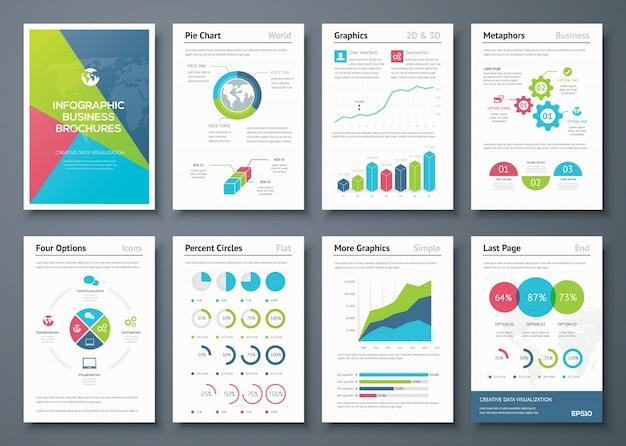 Opuscoli infografici e elementi grafici aziendali