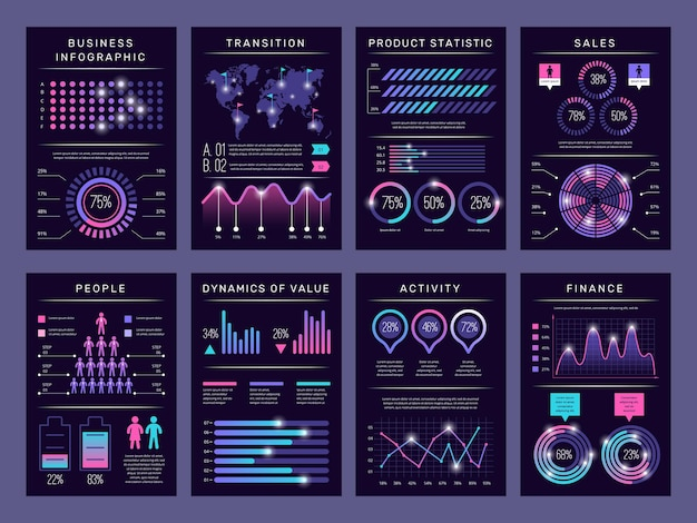 Brochure infografiche. moderna visualizzazione grafica astratta grafici diversi libretti dati modelli disegno vettoriale impostato con oggetti infografica. grafico commerciale e diagramma, illustrazione di visualizzazione