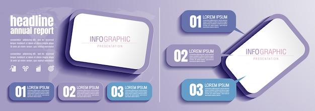 Dati aziendali infografici con 3 passaggi