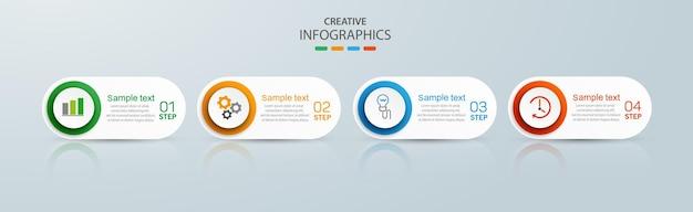 Modello di progettazione aziendale infografica con 4 passaggi