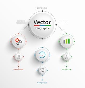 Modello di business infografica con icone e 3 passaggi