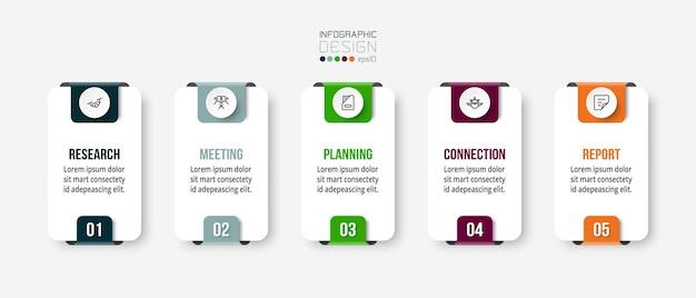 Modello di business infografica con design a gradini o opzioni Vettore Premium
