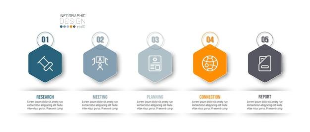Modello di business infografica con design a gradini o opzioni