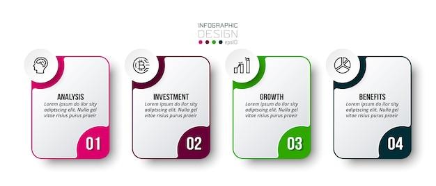 Modello di business infografico con design di passaggi o opzioni