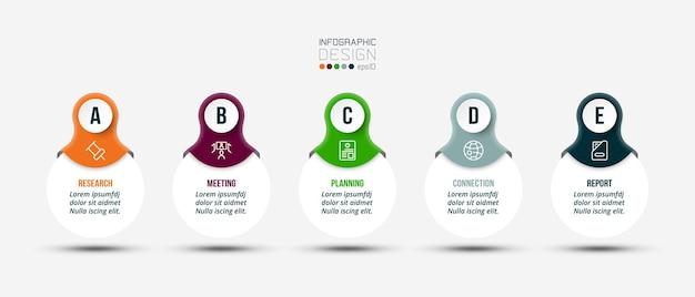 Modello di business infografica con design a gradini o opzioni.