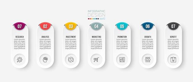 Modello di business infografica con design di passaggi o opzioni.
