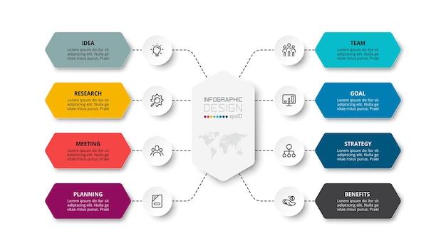 Flusso di lavoro modello di business infografica con passaggio o opzione.
