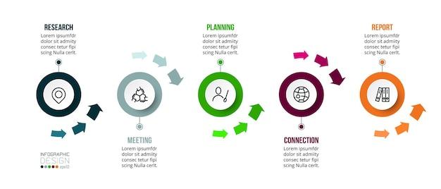 Modello colorato di cronologia aziendale infografica con opzione