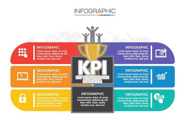 Grafico infografico con concetto di business, 6 opzioni possono essere utilizzate per il concetto di business con 6 passaggi.