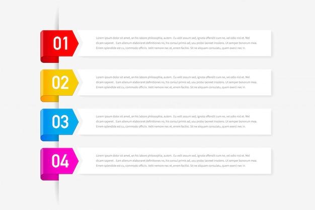 Concept design infografico con quattro opzioni, passaggi o processi.