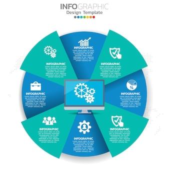 Illustrazione di concetto di infografica di seo infografica con modello di layout aziendale.