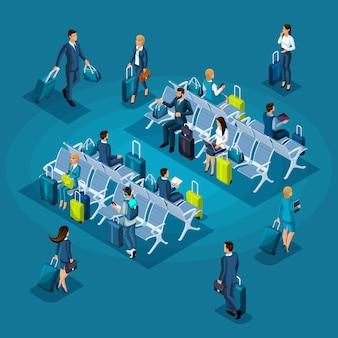 Concetto di infografica della sala d'attesa di un aeroporto internazionale, zona di transito, donne d'affari e uomini d'affari in viaggio d'affari