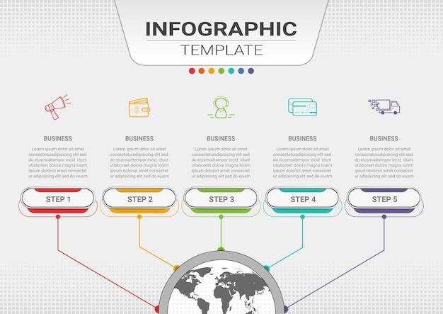 Contenuto infografico con passaggi e opzioni modello di presentazione aziendale