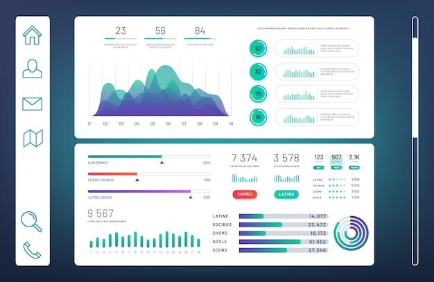 Dashboard infografica, pannello di amministrazione web con grafici informativi, diagrammi modello vettoriale