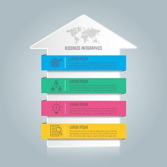 Concetto di business design infografica con 4 opzioni, parti o processi.