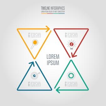Concetto di business di progettazione infografica con 4 opzioni.