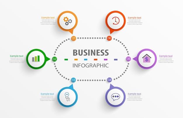 Modello di business di progettazione infografica con 6 opzioni o passaggi