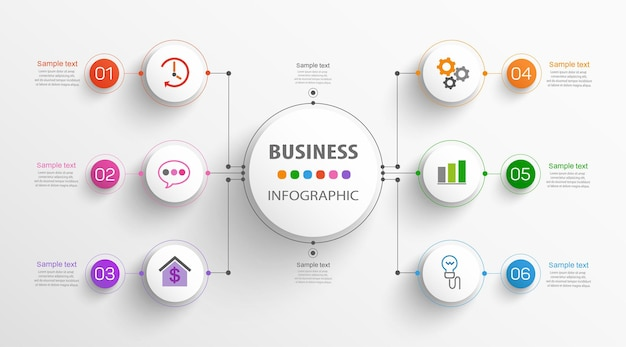Modello di business di progettazione infografica con 6 opzioni