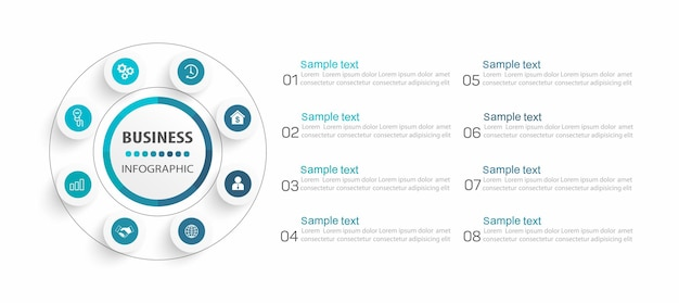Modello di business di progettazione infografica con 8 passaggi o processi di opzioni