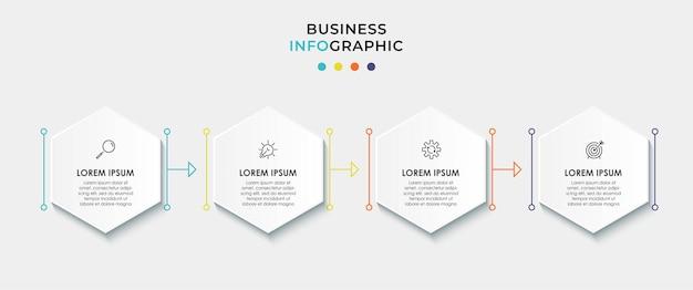 Modello di business di progettazione infografica con icone e 4 opzioni o passaggi