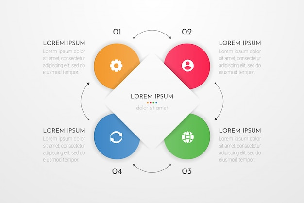 Elementi di progettazione infografica per i dati aziendali con quattro opzioni di cerchio, parti, passaggi, linee temporali o processi. .