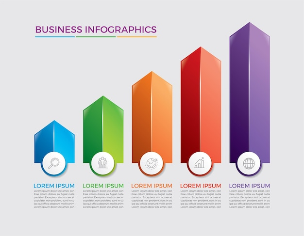 Progettazione e marketing di infografica. concetto di affari con 5 opzioni, passaggi o processi.