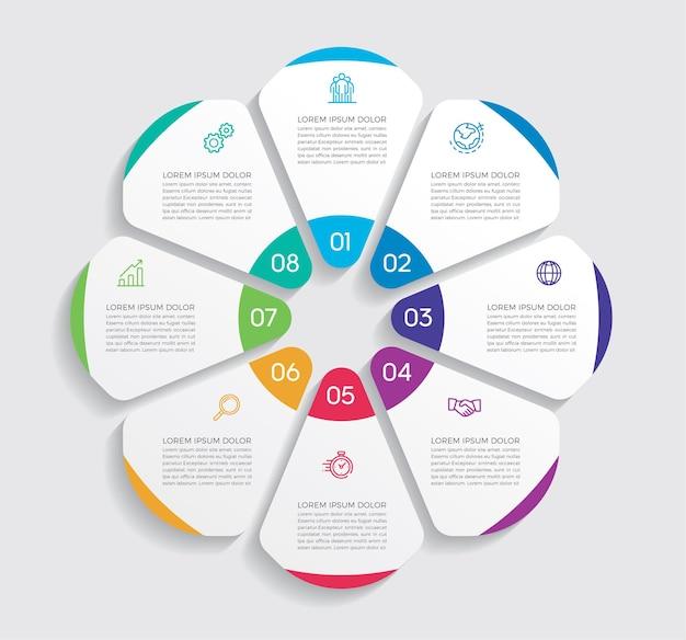 Progettazione e marketing di infografica. concetto di affari con 8 opzioni, passaggi o processi.