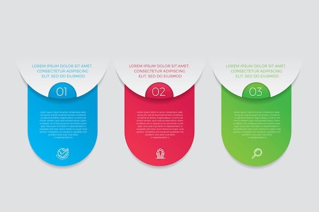 Icone di marketing e progettazione infografica. concetto di affari con 3 opzioni, passaggi o processi.