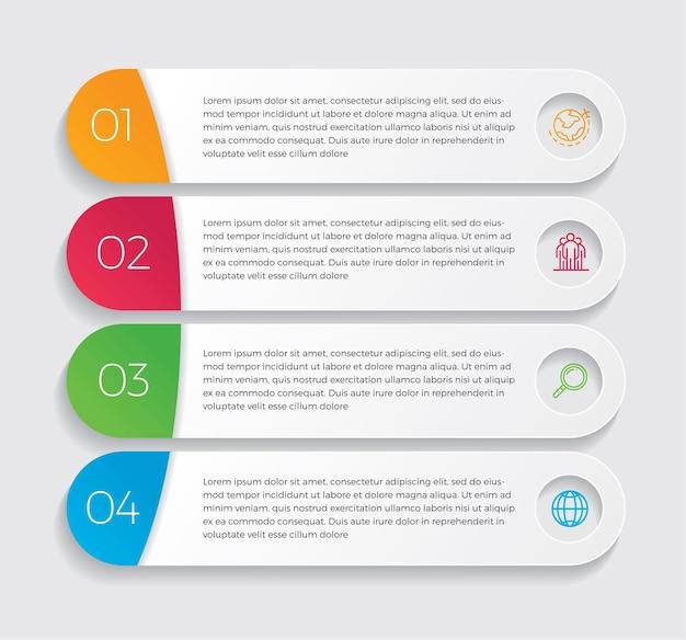 Icone di marketing e progettazione infografica. concetto di affari con 4 opzioni, passaggi o processi.