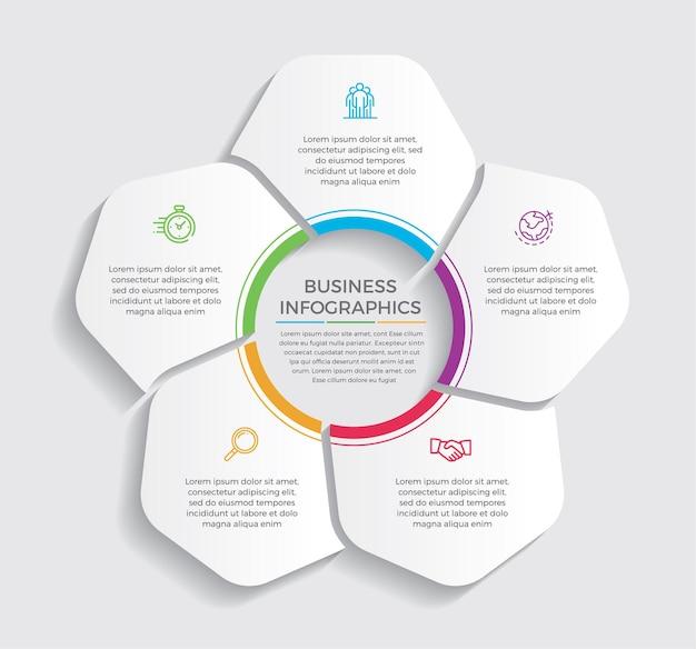 Icone di marketing e progettazione infografica. concetto di affari con 5 opzioni, passaggi o processi.