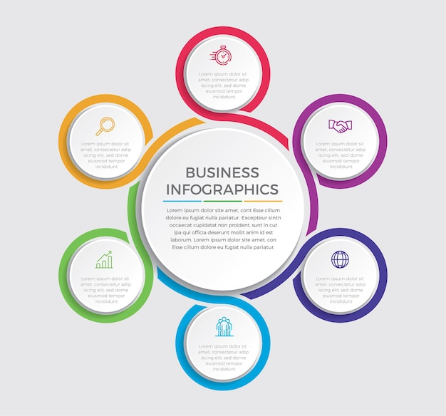 Icone di marketing e progettazione infografica. concetto di affari con 6 opzioni, passaggi o processi.
