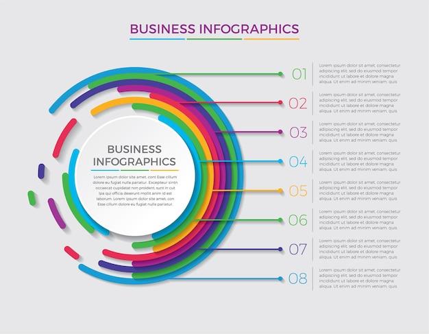 Icone di marketing e progettazione infografica. concetto di affari con 8 opzioni, passaggi o processi.