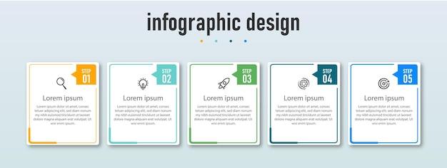 Modello di infografica aziendale presentazione di progettazione infografica con 5 opzioni