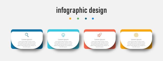 Modello di presentazione di progettazione infografica con 4 opzioni