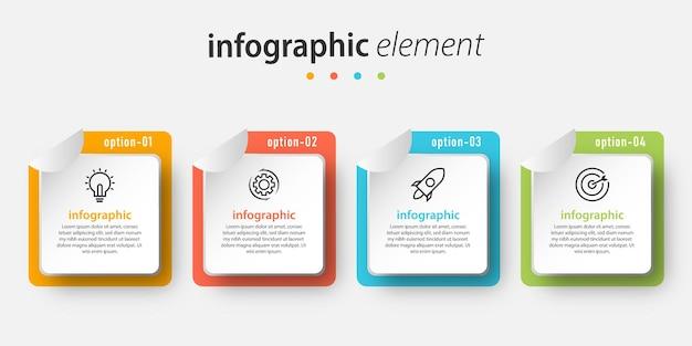 Modello di presentazione di progettazione infografica con quattro opzioni