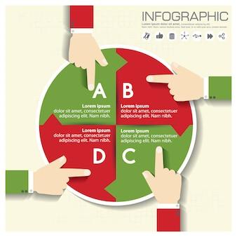 Modello di progettazione infografica e concetto di business con 4 opzioni, parti, passaggi o processi.