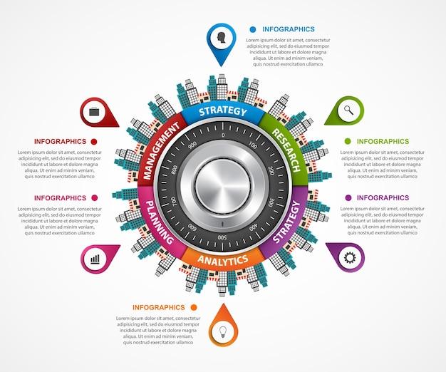 Illustrazione del modello di progettazione infografica