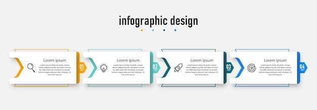 Diagramma di processo del modello di progettazione infografica presentazioni diagramma di flusso dell'insegna del layout del flusso di lavoro